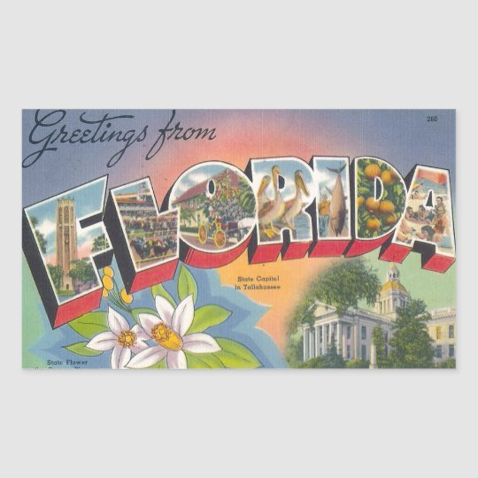 Greetings from FLORIDA Rectangular Sticker