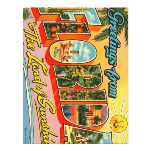 Greetings From Florida Vintage Postcard Flyer