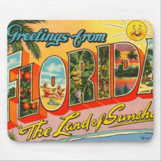 Greetings From Florida Vintage Postcard Mouse Pad