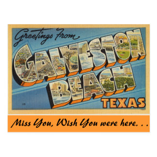 Greetings from Galveston Beach Postcard
