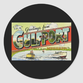 Greetings from Gulfport Mississippi Classic Round Sticker