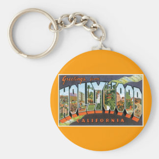 Greetings from Hollywood! Basic Round Button Key Ring