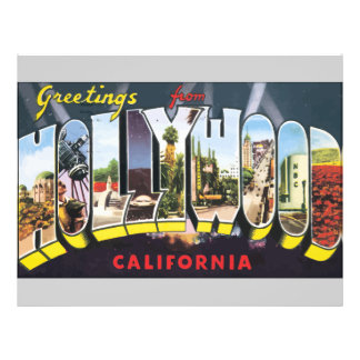 Greetings From Hollywood California, Vintage Flyer