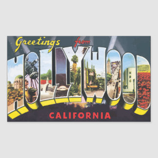 Greetings From Hollywood California, Vintage Rectangular Sticker