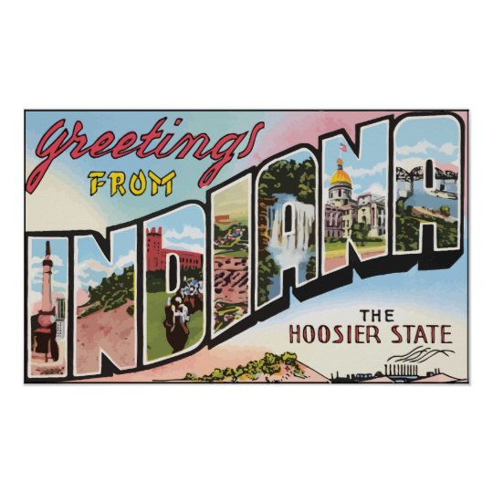 Greetings From Indiana The Hoosier State, Vintage Poster