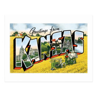 Greetings from Kansas! Vintage Postcard