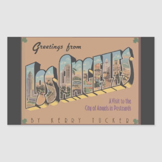 Greetings From Los Angeles, Vintage Rectangular Sticker