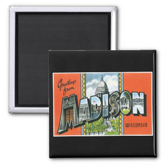 Greetings from Madison, Wisconsin! Square Magnet
