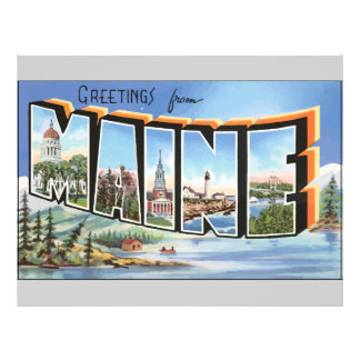 Greetings From Maine Vintage Flyer