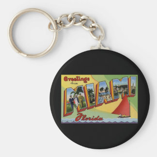 Greetings from Miami Florida Basic Round Button Key Ring