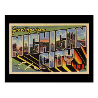 Greetings from Michigan City Indiana Postcard