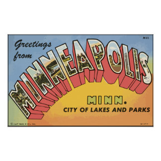 Greetings From Minneapolis Minn., Vintage Poster