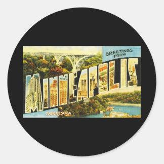 Greetings from Minneapolis Minnesota Classic Round Sticker