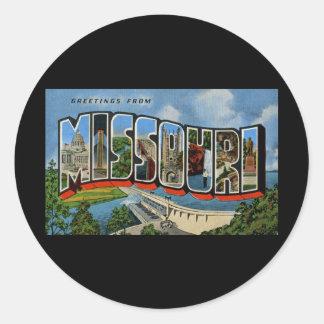 Greetings from Missouri Round Sticker