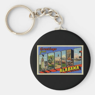 Greetings from Mobile Alabama Basic Round Button Key Ring