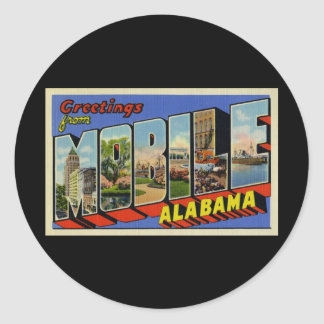 Greetings from Mobile Alabama Round Sticker