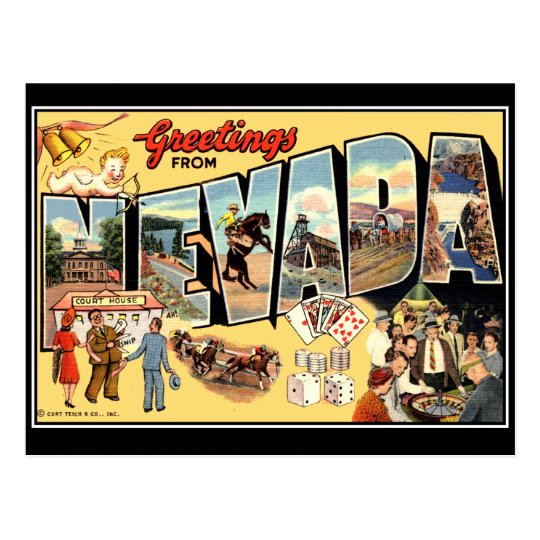 Greetings from Nevada Vintage Postcard