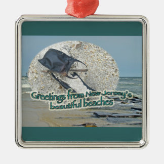 Greetings From New Jersey's Beautiful Beaches Christmas Ornament