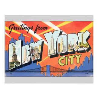 Greetings From New York City Vintage Flyer Design