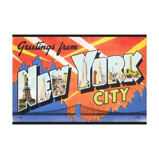 Greetings from New York City_Vintage Travel Poster Stretched Canvas Prints