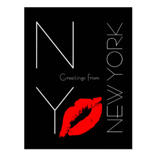 Greetings from New York Red Lipstick Kiss Black Postcard