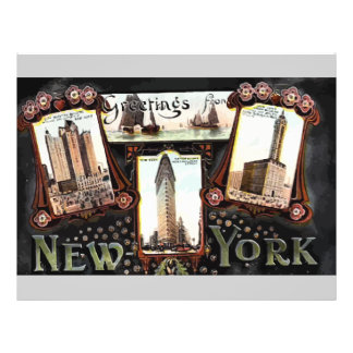 Greetings From New York Vintage Flyer