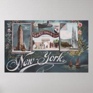 Greetings From New York Vintage Print