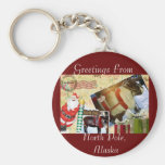 Greetings From North Pole, Alaska Basic Round Button Key Ring