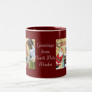 Greetings From North Pole, Alaska Two-Tone Mug
