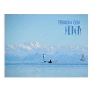 Greetings from Norway ocean photo card