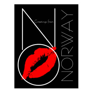 Greetings from Norway Red Lipstick Kiss Black Postcard