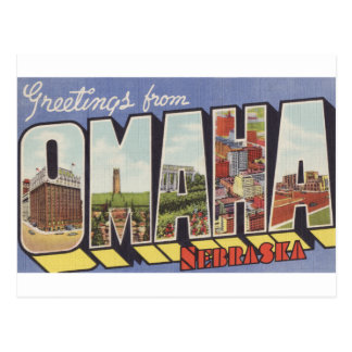 Greetings from Omaha NE Large Letter vintage theme Postcard