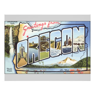 Greetings From Oregon Pacific Ocean Vintage Flyer Design