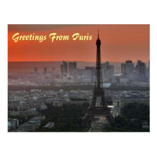 Greetings From Paris Eiffel Tower European Art Postcard