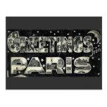 Greetings from Paris Vintage Postcard