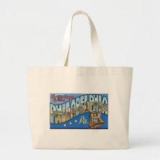 Greetings from Philadelphia, Pennsylvania! Large Tote Bag
