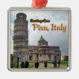 Greetings From Pisa Italy Silver-Colored Square Decoration
