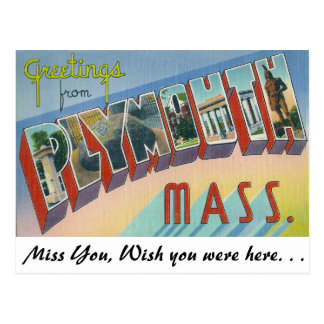 Greetings from Plymouth, Massachusetts Postcard
