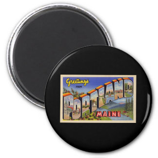 Greetings from Portland Maine 6 Cm Round Magnet