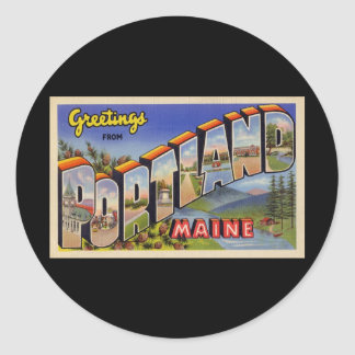 Greetings from Portland Maine Round Sticker