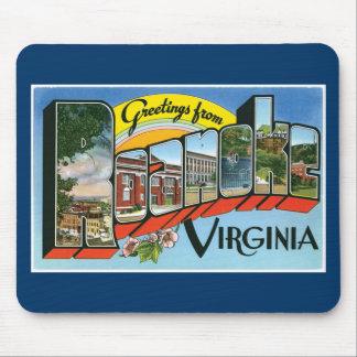 Greetings from Roanoke, Virginia! Retro Post Card Mouse Mat