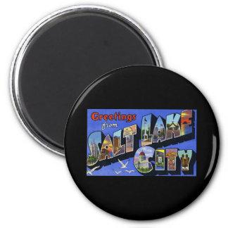 Greetings from Salt Lake City Utah 6 Cm Round Magnet