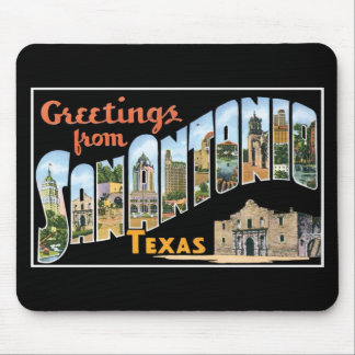 Greetings from San Antonio, Texas! Retro Post Card Mouse Mat
