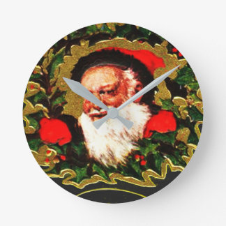 Greetings From Santa Claus Round Clock