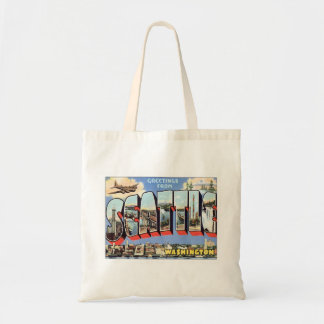 Greetings From Seattle, Washington USA Budget Tote Bag