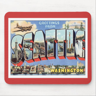 Greetings From Seattle Washington USA Mouse Pads