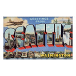 Greetings From Seattle Washington, Vintage Posters