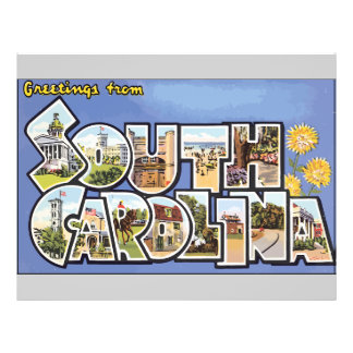 Greetings From South Carolina, Vintage Full Color Flyer