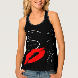 Greetings from Sweden Red Lipstick Kiss Typography Tank Top
