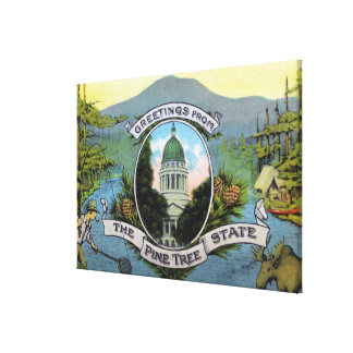 Greetings From the Pine Tree State, Scenic Canvas Print